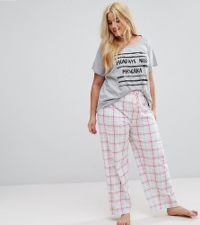 Yours Pastel Check PJ Pant - Cream