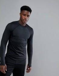 YOURTURN Active Thermal Long Sleeve Top In Black - Black