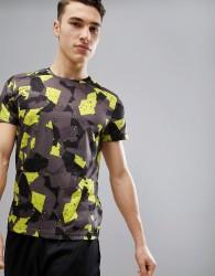YOURTURN Active Training T-Shirt In Neon Print - Grey