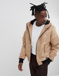 YOURTURN Borg Lined Faux Suede Bomber Jacket In Stone - Stone