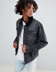 YOURTURN Denim Jacket In Black With Borg Collar - Black