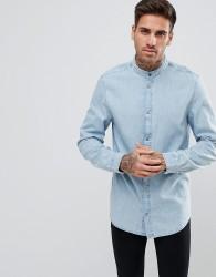 YOURTURN Denim Shirt With Grandad Collar In Light Blue Wash - Blue