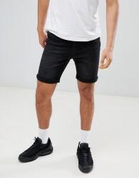 YOURTURN Denim Shorts In Black - Black