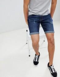 YOURTURN Denim Shorts In Blue With Abrasion - Blue