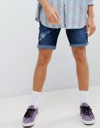 YOURTURN Denim Shorts In Blue With Rips - Blue