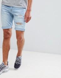 YOURTURN Denim Shorts With Abrasion In Light Blue - Blue