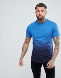 YOURTURN Dip Dye T-Shirt In Blue - Black