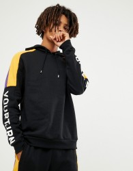 YOURTURN hoodie in black with colour block side stripe - Black