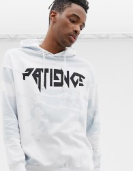 YOURTURN hoodie in white and blue with patience print - White