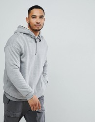 YOURTURN Hoodie With Borg Lining In Grey - White