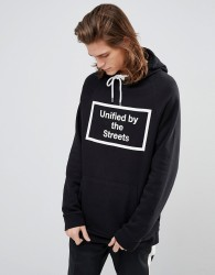 YOURTURN Hoodie With Box Slogan In Black - Black