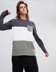 YOURTURN Long Sleeve Top With Colour Block In Grey And White - Green