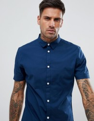 YOURTURN Muscle Fit Shirt With Mini Collar In Navy - Navy