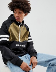 YOURTURN Overhead Windbreaker Jacket With Colour Block In Black - Black