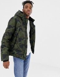 YOURTURN padded jacket in camo with faux fur lined hood - Green