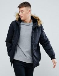 YOURTURN Parka Jacket In Black With Faux Fur Hood - Black
