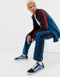 YOURTURN popper track pant in blue with side stripe - Blue