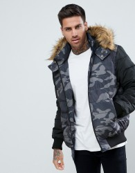 YOURTURN Puffer Jacket In Camo With Faux Fur Hood - Multi