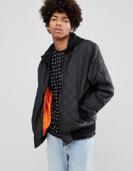 YOURTURN Quilted Bomber Jacket In Black With Jersey Hood - Black
