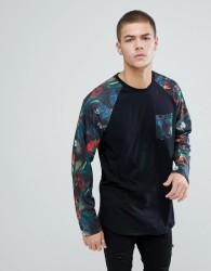 YOURTURN Raglan Sleeve Floral Print Shirt In Black - Black