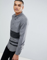 YOURTURN Regular Fit Shirt In Grey Stripe - Green