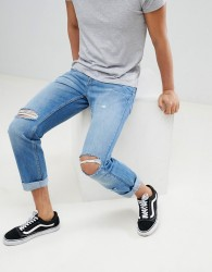 YOURTURN Straight Jeans In Mid Blue With Rips - Blue