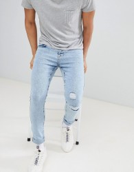 YOURTURN Super Skinny Jeans In Light Blue Acid Wash With Rips - Blue