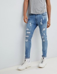YOURTURN Super Skinny Jeans In Mid Blue With Rips - Blue