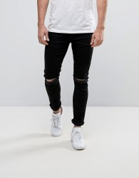 YOURTURN Super Skinny Jeans With Knee Rips In Black - Black