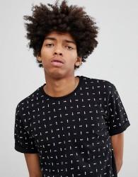 YOURTURN T-Shirt In Black With Geometric Print - Black