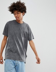 YOURTURN T-Shirt In Dark Grey With Shadow Pocket - Grey
