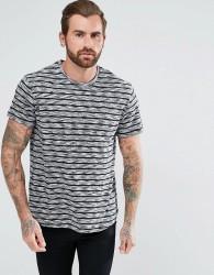 YOURTURN T-Shirt In Grey Stripes - White
