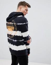YOURTURN Tie Dye Hoodie With World Wide Supply Logo In Navy - Multi