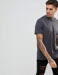 YOURTURN V Neck T-Shirt In Dark Grey - Black
