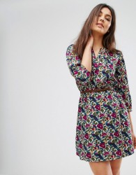 Yumi Belted Dress With 3/4 Sleeves In Nouveau Floral Print - Multi
