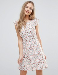 Yumi Frill Sleeve Sundress In Floral Stripe Print - White
