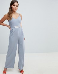 Yumi Jumpsuit With Metal Belt Detail - Grey