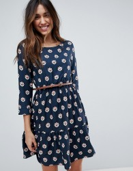 Yumi Long Sleeve Belted Dress in Tulip Heart Print - Navy