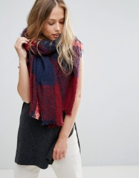 Yumi Navy and Bright Pink Check Scarf - Multi