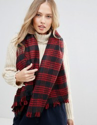 Yumi Navy and Red Check Scarf - Multi