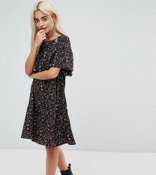 Yumi Petite Cape Detail Dress In Small Floral Print - Black
