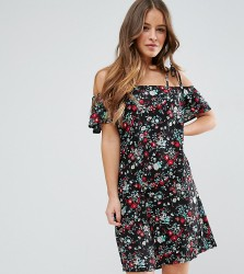 Yumi Petite Dress With Cold Shoulder In Floral Print - Black