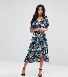 Yumi Petite Floral Midi Wrap Dress - Black