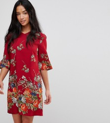 Yumi Petite Frill Sleeve Shift Dress in Floral Border Print - Red