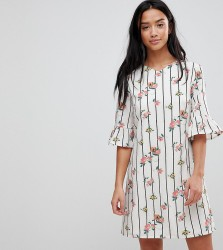 Yumi Petite Frill Sleeve Shift Dress in Stripe Floral Print - White