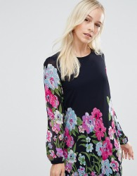 Yumi Petite Shift Dress In Floral Border Print - Navy