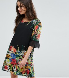 Yumi Petite Swing Dress With Frill Sleeves In Border Print - Black