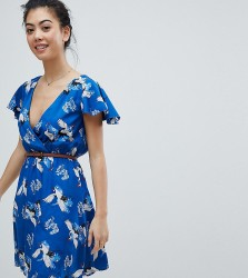 Yumi Petite Wrap Front Dress with Belt in Heron Print - Blue