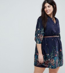 Yumi Plus Belted Dress with 3/4 Sleeves in Meadow Border Print - Navy