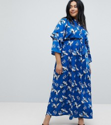 Yumi Plus Frill Sleeve Maxi Dress in Heron Print - Blue